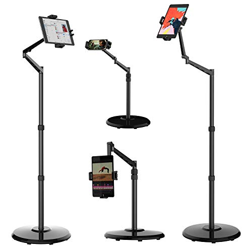 Smatree Cell Phone & Tablet Floor Stand, 360 Degree Rotating with Height Adjustable Stand Compatible with 4.7-12.9inch iPhone,iPhone 12/12 Pro,iPad Pro/Mini/Air,Samsung Galaxy Tab,Kindle,eBook Reader