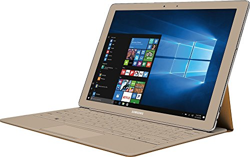 """Samsung Galaxy TabPro S Convertible 2-in-1 Laptop / Tablet, 12"""" FHD+ Touchscreen - Intel Core m3-6Y30 - 8GB DDR3 Memory - 256GB SSD - Windows 10 - Bluetooth – Webcam - Gold (Keyboard Included)"""