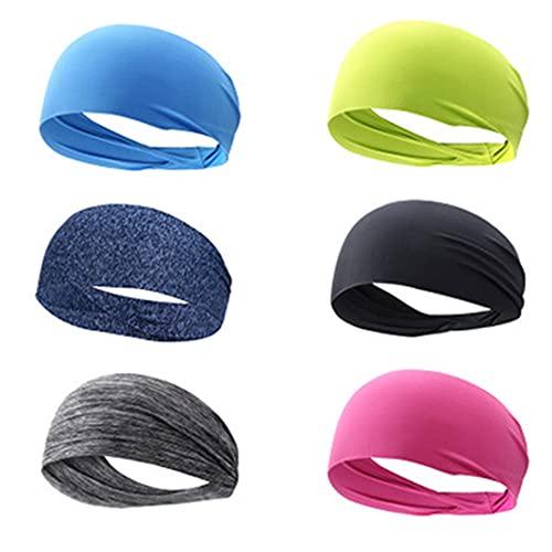 6 Pezzi Fascia Sportiva Capelli Uomo per Uomo e Donna,Fascia capelli sport,Fascia Sudore,Ldeale per Esercizi e Viaggi,Per lo yoga,l'atletica,Escursionismo,Ciclismo e Moto.