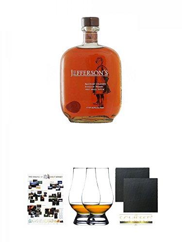 Jeffersons Kentucky Small Batch Bourbon 0,7 Liter + Poster The Making of Malt Whisky DIN A1 + The Glencairn Glass Whisky Glas Stölzle 2 Stück + Schiefer Glasuntersetzer eckig ca. 9,5 cm Ø 2 Stück