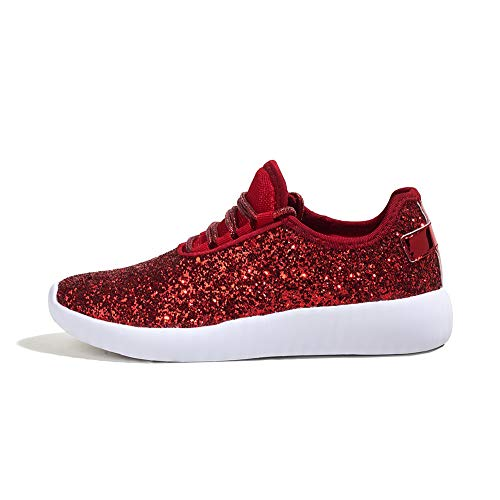 ROXY-ROSE Women's Glitter Tennis Sparkly Jogger Sneaker Red Silver White Black Stylish Shoes (11 B(M) US, Red)