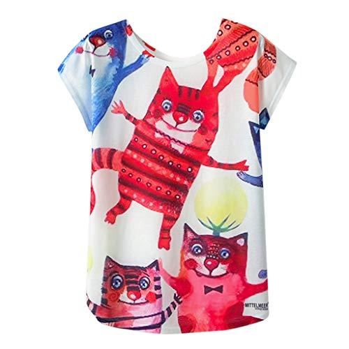 FRAUIT T-shirt dames geometrische dierenprint O-hals, korte mouwen, losse T-shirt, blouse basic, stretch, plooien, schattige hartprint, tuniek, allover anker, opdruk, zomer, bovenstuk