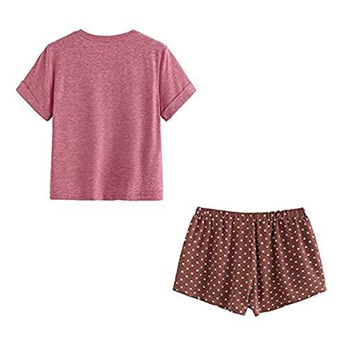 Loalirando - Pijama para mujer o niña, verano, conjunto de 2 piezas, camiseta de manga corta + pantalones cortos estampados con dibujos animados, Rojo gato, L