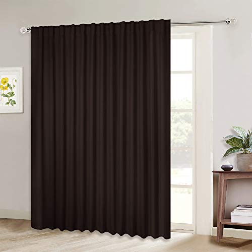 NICETOWN Blackout Curtain for Sliding Glass Door - Insulated Window Covering for Dividing Space/Office, Decorative Light Sound Reducing Patio Door Blinds (Brown, W100 x L95, 1 Piece)