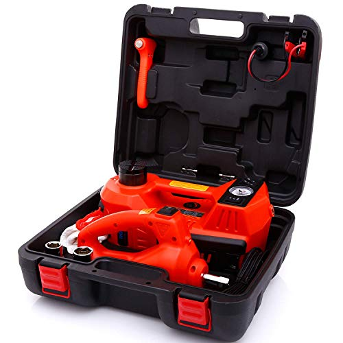ROGTZ Electric Hydraulic Car Jack Kit with Impact Wrench and Tire Inflator Pump, 5 Ton 12V Car Jack Hydraulic Car for SUV Sedans Tire Change with LED Light(Red)