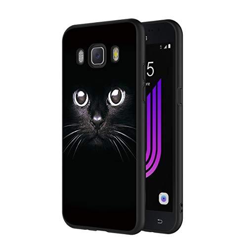 ZhuoFan Cover Samsung Galaxy J7 2016, Custodia Cover Silicone Nero con Disegni Ultra Slim TPU Morbido Antiurto 3d Cartoon Bumper Case Protettiva per Samsung Galaxy J7 2016 Smartphone (Gatto Nero)