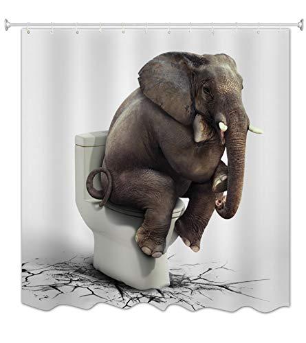 A.Monamour Fondo Blanco Elefante Sentado En El Baño Agrietado Piso Gracioso Imprimir Antibacteriano Impermeable Tela De Poliéster Cortinas De Ducha De Tela Poliester para Baño Accesorio 180x180 cm