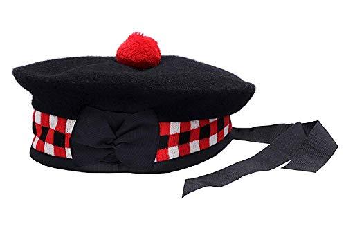 100% Schottischer roter Balmoral Schaumstoffwürfeln Mütze aus Wolle, Weiß & Schwarz 60 cm/UK 7.1/2