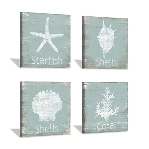 """Ocean Animal Canvas Wall Art: Starfish and Seashell Picture Artwork Painting on Canvas for Bathroom (12"""" x 12'' x 4 Panels)"""