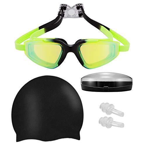 Karsaer Gafas de natación, sin Fugas, antiniebla, protección UV, para Mujeres, Hombres, Adultos, jóvenes y niños, Verde