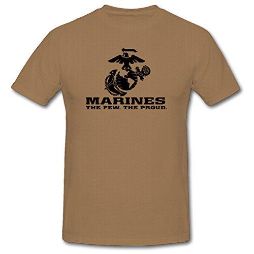 USMC Marines The Few The Proud Corps Wappen Abzeichen Emblem- T Shirt Herren Khaki #701
