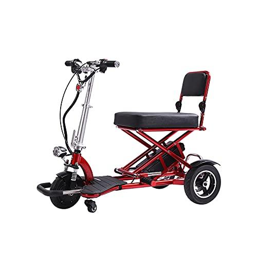 Scooter De Movilidad De 3 Ruedas, Multifunción, Plegable, De Dos Plazas, De Viaje, Carrito De Equipaje Eléctrico, Transformador, Scooter Plegable para Adultos Y Personas Mayores,Rojo
