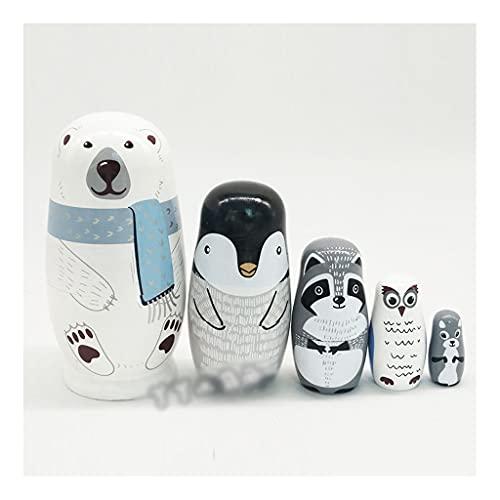 Matroschkas Matrjoschka Russische Matryoshka Tiermodelle tragen Matryoshka Puppen für Kinder Kindergarten Unterrichtshilfen Matryoshka Puppen für Kinder (Color : White, Größe : 14.5x7.5cm)