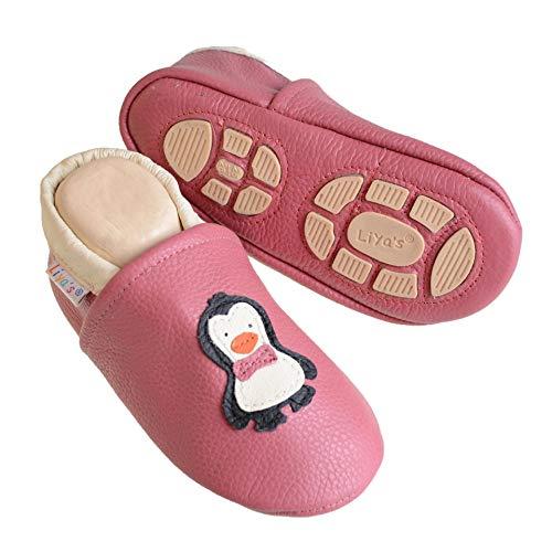 Liya's Hausschuhe Lederpuschen mit Teilgummisohle - #621 Pinguin in Rosé-29/30