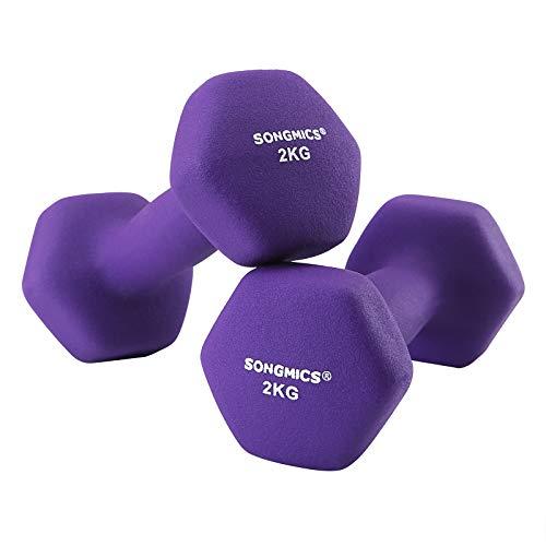 SONGMICS Women\'s 2er-Set Hanteln Kurzhantel Gymnastikhantel Vinyl in Verschiedenen Gewichts-und Farbvarianten 2 x 2 kg SYL64PL, Lila, 16 x 7.5 cm