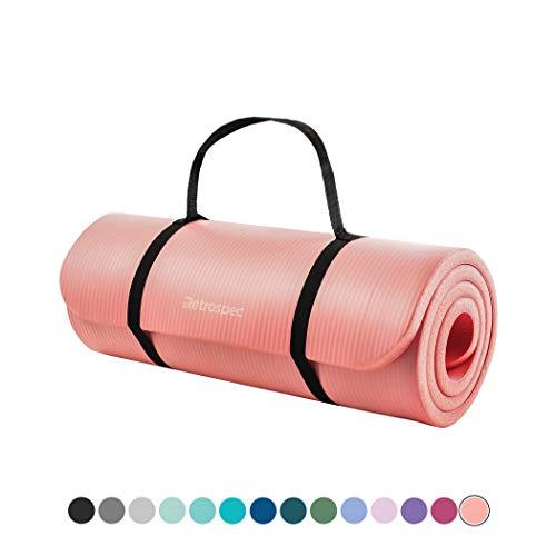 Retrospec Solana Yoga Mat 1quot Thick w/Nylon Strap for Men amp Women  Non Slip Excercise Mat for Yoga Nude 1 inch