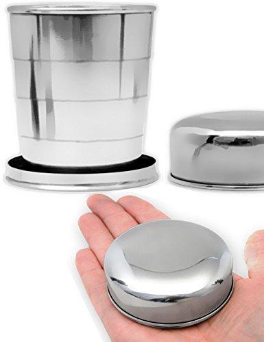 Outdoor Saxx® - Reise-Becher faltbar, Outdoor-Becher, Camping-Becher, Tasse mit Karabiner, klein und kompakt zusammen klappbar, Edelstahl 250ml