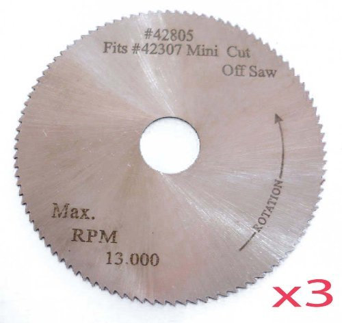 3Pc. 2' x 100T x 3/8' HSS Blade for Mini High Speed Miter Cut Off Saw