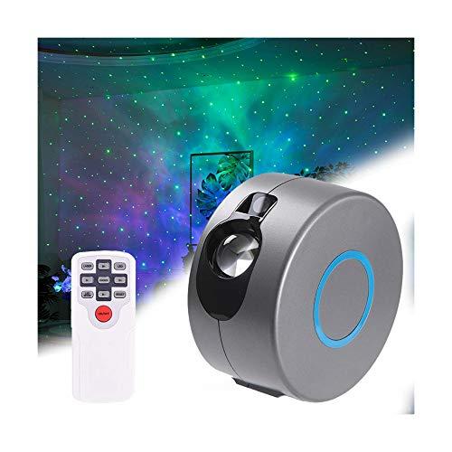 Sternenhimmel-Projektor, USB Fernbedienung Nachtlicht, Party Farbwechsel Wasserwelle Projektionslampe, LED Projektor Sternenlicht, Sterne Musik Lampe mit Bluetooth, für Familientreffen (A)