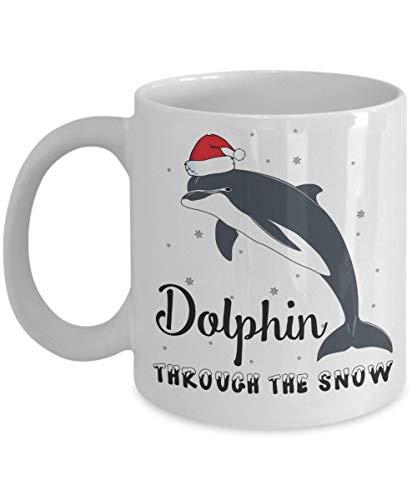 Taza de cerámica divertida del delfín taza de café - delfín a través de la taza | Mejor regalo de Navidad, cumpleaños para amantes de los delfines, papá, mamá, niño, niña, niños - Blanco 11oz