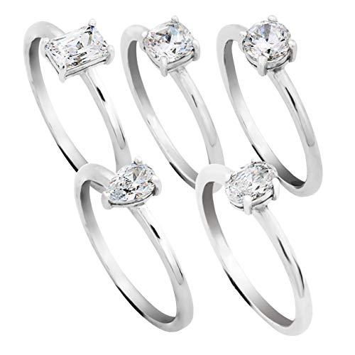 PAZ Creations .925 Sterling Silver Cubic Zirconia 5 Stack Ring Set (10)