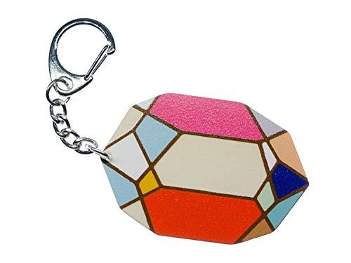 Miniblings Wooden Diamond Key Chain Geometric Pattern Shape Gemstone Colorful
