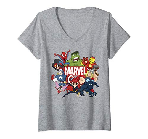 Mujer Marvel Avengers Cartoon Action Collage Group Shot Camiseta Cuello V