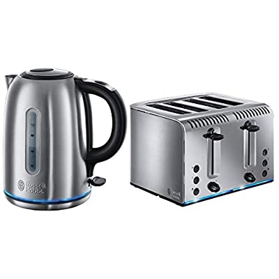 Russell Hobbs 20750 Buckingham Four Slice Toaster and Russell Hobbs 20460 Buckingham Quiet Boil Kettle - Stainless Steel