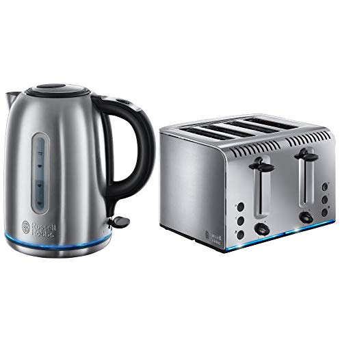 Russell Hobbs Stainless Steel Quiet Boil Kettle and 4 Slice Toaster