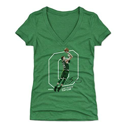 500 LEVEL Jayson Tatum Shirt for Women (Women's V-Neck, Medium, Heather Kelly Green) - Boston Shirt for Women - Jayson Tatum Outline W WHT