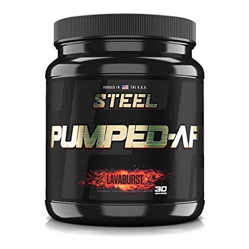 Steel Supplements Pumped-AF Pre Workout Powder w/Hydromax & Kre-Alkalyn | Caffeine Free, Increase Blood Flow & Hydration | 30 Servings (Lavaburst)