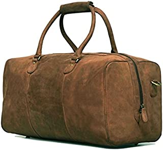 Vintage Leather Duffel Bag Overnight Weekender Bag Brown [ Panama]