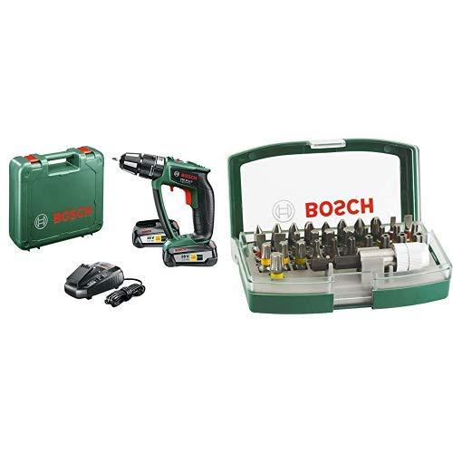 Bosch PSB 18 LI-2 Ergonomic (2 Trapano Avvitatore-Battente con Batteria al Litio, 18 V + 2607017063 Rainbow Set 32 Inserti Avvitamento