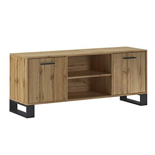 SelectionHome - Mueble TV 140 con 2 Puertas para Salón, Comedor, Modelo Raw, Color Estructura y de la Puerta en Roble Rústico, Medidas: 137 cm (Ancho) x 40 cm (Fondo) x 57 cm (Alto)