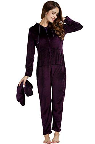 Unibelle Damen Jumpsuit einteiliger Pyjama Strampler für Erwachsene mit Füssen Ganzkörper Schlafanzug Dunkles Violet L