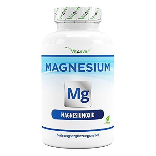 Magnesio - 365 cápsulas (12 meses) - 665 mg por cápsula, de los cuales 400 mg de magnesio elemental - Altamente dosificado - Sin aditivos indeseables - Vegano