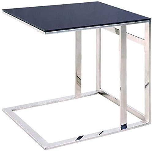 H-CAR Mesa auxiliar, mesa auxiliar, mesa de café, mesa de sofá, mesa redonda pequeña de acero inoxidable en forma de C, mesa de lectura de cristal, para el hogar, oficina, 50, 41, 52 cm