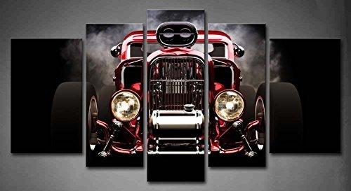 5 paneli sztuka ścienna gorący pręt z dymem tłem na czarnym malowaniu obraz nadruk na płótnie zdjęcia samochodowe do dekoracji domu ozdoba prezent rozciągnięty drewnianą ramą gotowy do powieszenia
