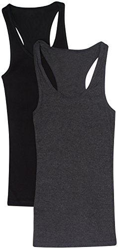 Zenana Outfitters Womens 2 Pack Basic Ribbed Tank Top 2 Pack- Black Charcoal Small