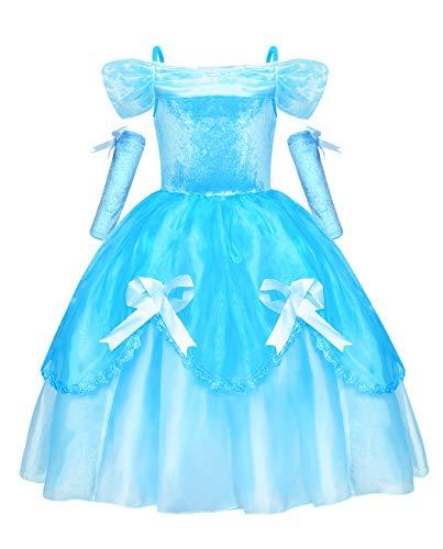 Jurebecia Disfraces De Niñas Cenicienta Vestido de Princesa Traje Fiesta De Cumpleaños De Halloween Carnaval Cosplay Party Dress up Disfraces con Accesorios Set Azul