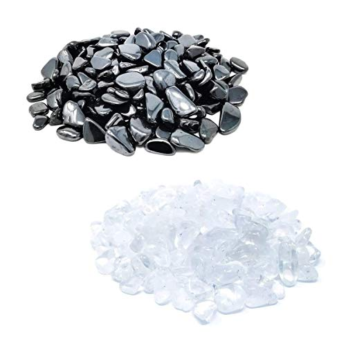 Premium Ladesteine & Entladesteine | Bergkristall & Hämatit Trommelsteine | Granulat/Mini Chips zum Entladen und Aufladen von Edelsteinen, Heilsteinen oder Edelsteinschmuck (500g)
