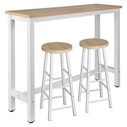 WOLTU Tavolo da Bar con 2 Sgabelli Alti Set Mobili da Bar Rettangolare Bancone per Cucina in Acciaio Legno BT30hei+BH130hei-2