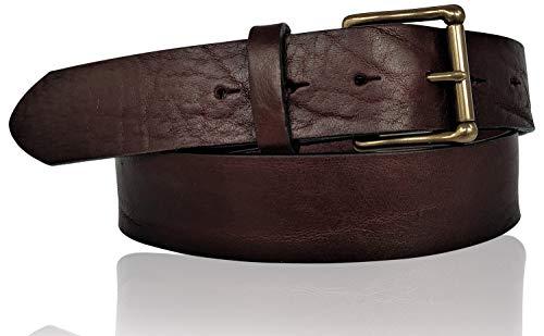 FRONHOFER Cinturón para hombre Best Patina de alta calidad, 4 cm, hebilla de latón macizo, irrompible, inoxidable, piel de sillín 18468 marrón oscuro XX-Large