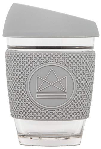 Neon Kactus - Taza de café de cristal reutilizable gris