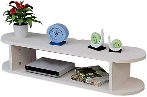 BECCYYLY Rack de enrutador Control de televisión con Marco Flotante Colgante de TV Caja de Cable DVD Estante Decorativo Rack de servidores (Color : White)