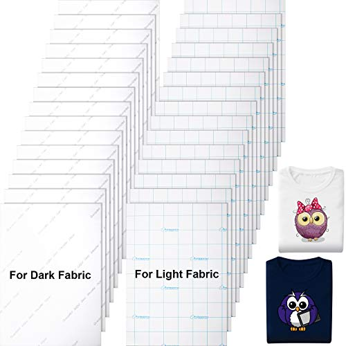30 Pieces Printable Heat Transfer Paper Heat Fabric Transfer Paper for Dark and Light Fabrics, Inkjet Printer Iron on HTV, Make Your Own T-Shirt, A4 Size