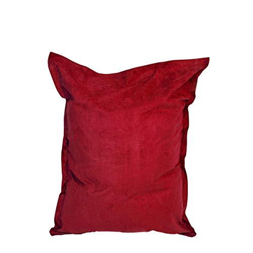 Lumaland Puf Microfibra Lujo XXL 380l Relleno 140 x 180 cm Asiento Gigante para el Suelo - Rojo