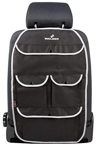 WALSER 30032 Organizador para niños, bolsa para el asiento trasero Lucky Tom en negro/gris | protector de asiento de coche con protección de respaldo | protector de asiento trasero para coches