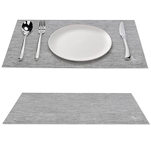 Place Mats Set of 4 Dining Table Mat Abstract Grey Old Paper Easy to Clean Non-Slip Placemats 4pcs