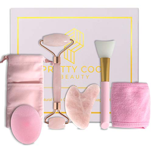 Pretty Cool Beauty Rose Quartz Roller - Face Roller Set For Tightening, Puffiness, Wrinkles, Slimming - Anti Aging, Durable, Authentic, Smooth Jade Roller